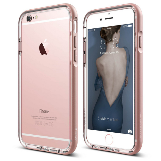 detailed look 05d92 d43a9 S6+ Aluminum Bumper for iPhone 6s Plus - Transparent / Rose Gold « Back