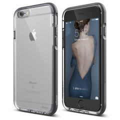 S6+ Dualistic Aluminum Case for iPhone 6/6s Plus - Transparent / Dark Gray