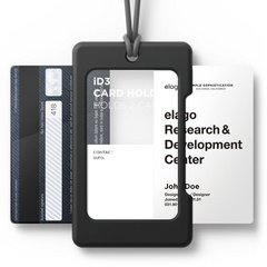USB ID Card Holder - Black with dark grey strap