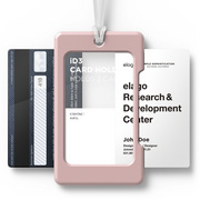 USB ID Card Holder - Pink with transparent strap