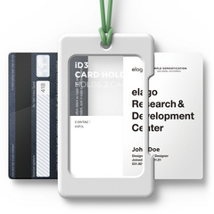 ID Card Holder - White with green strap