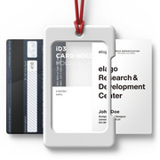 USB ID Card Holder - White with red strap