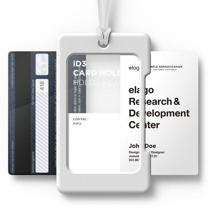 ID Card Holder - White with transparent strap