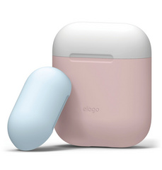 Airpods Silicone Case - Pink with Classic White/Pastel Blue top