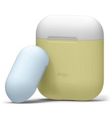Airpods Silicone Case - White with Pastel Blue/Yellow top