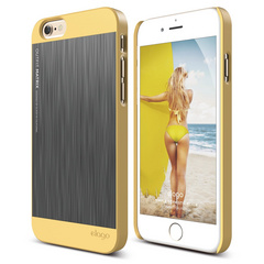 S6 Outfit Matrix Case for iPhone 6/6s - Creamy Yellow / Dark Gray