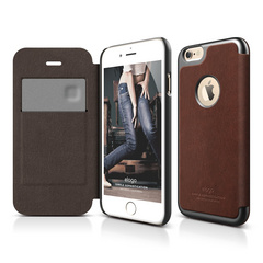 S6 Leather Apple Logo Cutout Flip Case for iPhone 6/6s - Brown / Metallic Dark Gray