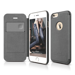 S6 Leather Apple Logo Cutout Flip Case for iPhone 6/6s - Dark Gray / Dark Gray