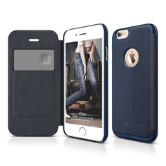 S6 Leather Apple Logo Cutout Flip Case for iPhone 6/6s - Jean Indigo / Jean Indigo