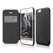 S6 Leather Flip Case for iPhone 6/6s - Black / Black