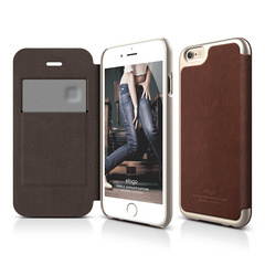 S6 Leather Flip Case for iPhone 6/6s - Brown / Champagne Gold
