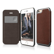 S6+ Leather Flip Case for iPhone 6/6s Plus - Brown / Metallic Dark Gray