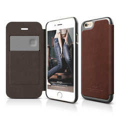 S6 Leather Flip Case for iPhone 6/6s - Brown / Metallic Dark Gray