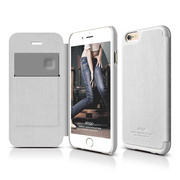 S6 Leather Flip Case for iPhone 6 ONLY - White / White