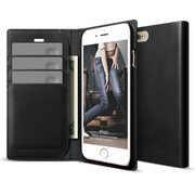 S6+ Genuine Leather Wallet Case for iPhone 6/6s Plus - Black
