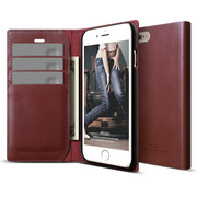 S6+ Genuine Leather Wallet Case for iPhone 6/6s Plus- Burgundy