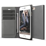 S6+ Genuine Leather Wallet Case for iPhone 6/6s Plus - Dark Gray