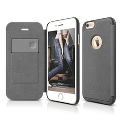 S6+ Leather Apple Logo Cutout Flip Case for iPhone 6/6s Plus - Dark Gray / Dark Gray