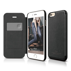 S6+ Leather Flip Case for iPhone 6/6s Plus- Black / Black
