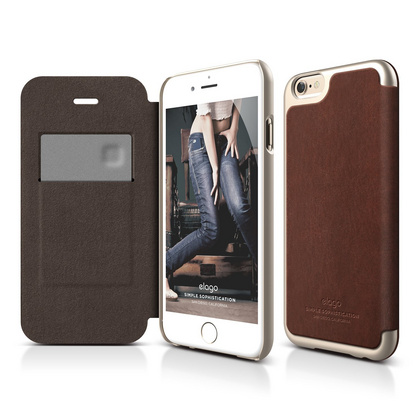 S6+ Leather Flip Case for iPhone 6/6s Plus - Brown / Champagne Gold