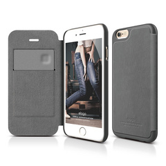 S6 Leather Flip Case for iPhone 6/6s - Dark Gray / Dark Gray