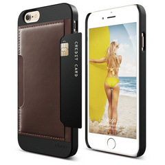 S6 Outfit Genuine Leather Pocket Case for iPhone 6/6s - Black / Brown