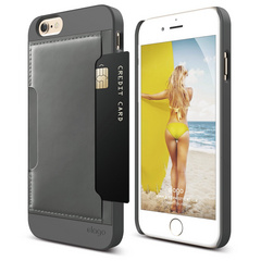 S6 Outfit Genuine Leather Pocket Case for iPhone 6/6s - Dark Gray / Dark Gray