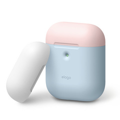 Airpods Silicone Case - Pastel Blue with Pink/White top