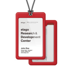 ID Card Holder - Red with dark gray strap