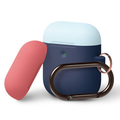Airpods Silicone Duo Hang Case - Jean Indigo with Italian Rose/Pastel Blue top