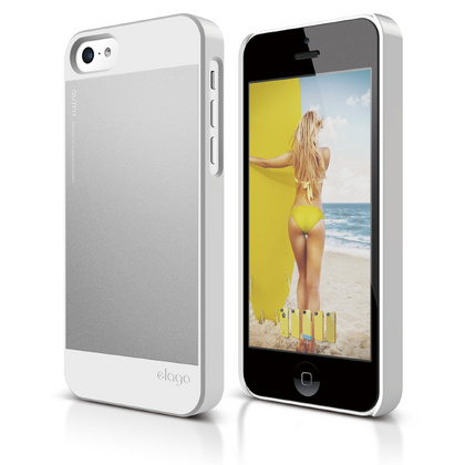 S5c Outfit Case for iPhone 5C - White / Silver