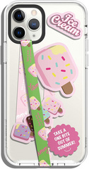 Smartphone Strap with stickers - Strawberry icecream