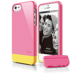 S5 Glide Case with Extra Bottom Clip for iPhone 5/5s/SE - Hot Pink