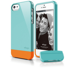 S5 Glide Case with Extra Bottom Clip for iPhone 5/5s/SE - Coral Blue
