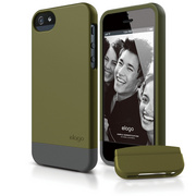 S5 Glide Case with Extra Bottom Clip for iPhone 5/5s/SE - Soft Camo Green