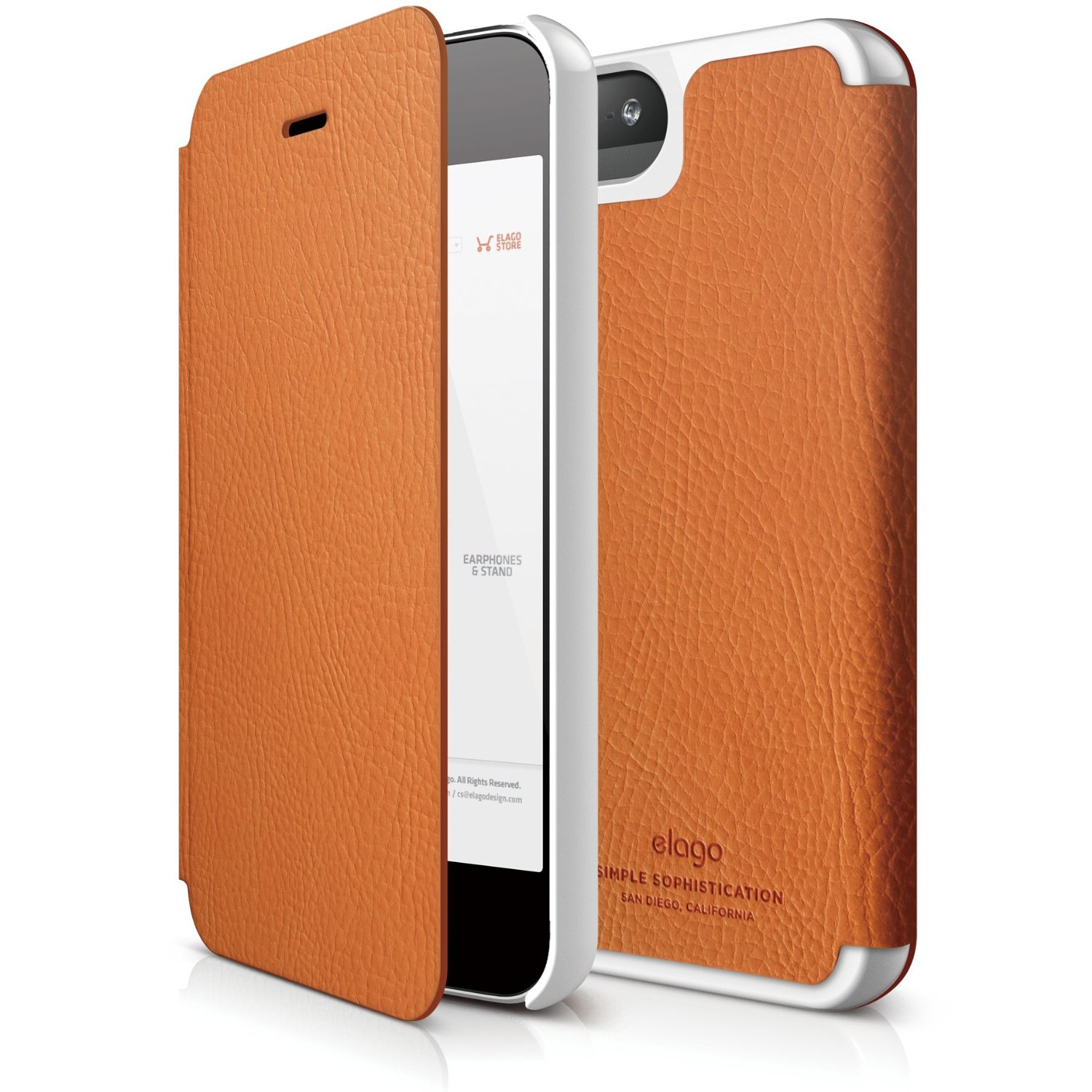 iphone 5s leather case s5 leather flip for iphone 5 5s se orange elago 14821