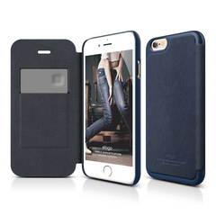 S6+ Leather Flip Case for iPhone 6/6s Plus - Jean Indigo / Jean Indigo