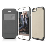 S6 Leather Flip Case for iPhone 6/6s - Beige / Dark Gray